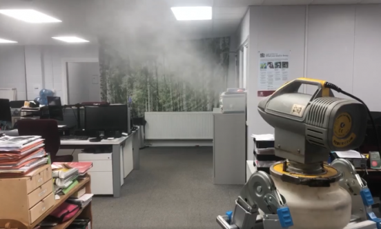 Disinfection fogging service in office building